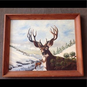 Hand painted Picture Deer Snow Mountain Tree River
